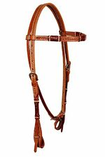 Western Natural Leather Browband Style Rawhide Weaved Headstall