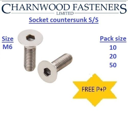 SKT CSK Alan head screws. M6 Stainless steel Socket Countersunk