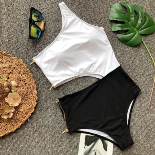 mode meer badeanzug monokini weiß schwarz rückenfrei élégant 5714