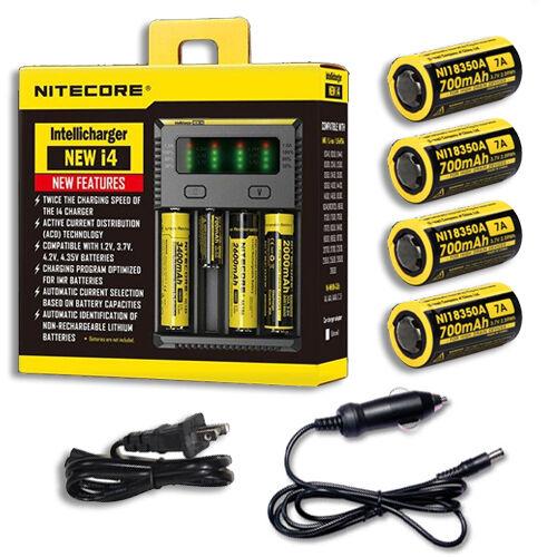 Car /& Wall Adaptor NiteCore IntelliCharger i4 w//4x IMR 7A 18350 Batteries