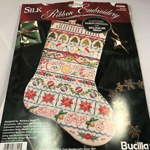 Vintage-Bucilla-Christmas-Stocking-Silk-Ribbon-Kit-83309-1995-NOB