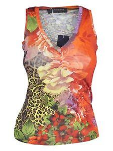 vengera-maglia-top-donna-floreale-arancione-stretch-made-italy-taglia-it-40-42