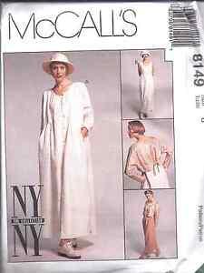 8149-McCalls-Sewing-Pattern-Misses-NY-NY-Loose-Dress-Boxy-Jacket-Pants-UNCUT-OOP