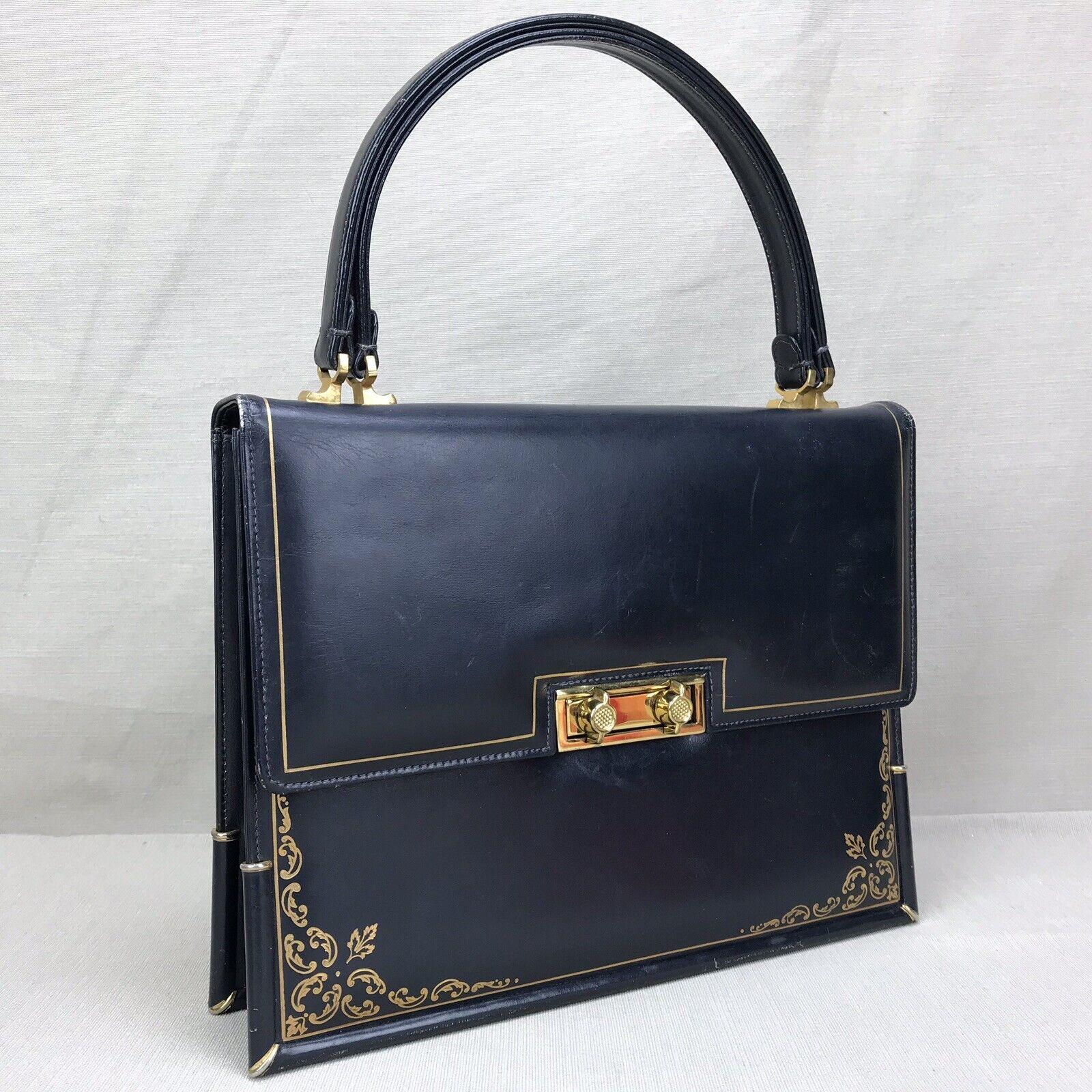Scuola del Cuoio Vintage 1950s Purse Blue Gold Em… - image 12