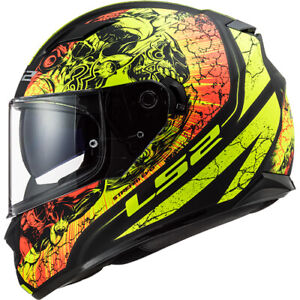 LS2-THRONE-mattschwarz-Neon-Motorrad-Helm-Integralhelm-Kart-Sport-Gr-XS-XXL
