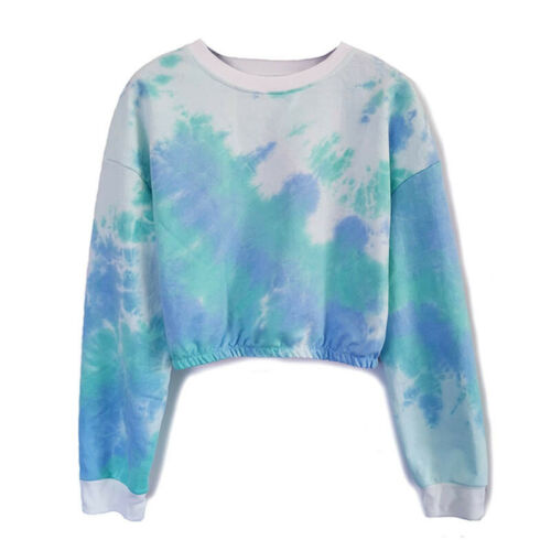 Gradient Women Sweatshirts Casual Long Sleeve T-shirt Crop Top Harajuku Pullover
