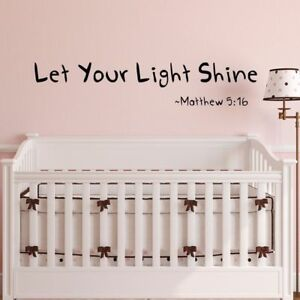 Inspirational Bible Wall Decal Let Your Light Shine Mattew Quote
