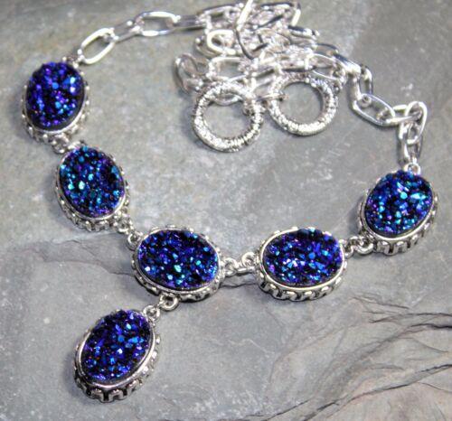 Silver Vintage Style Royal Blue Rainbow Titanium Druzy Necklace WN10412