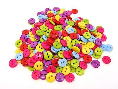 200 Pcs -  9mm Mixed Round Acrylic 2 Hole Buttons Craft Scrapbooking Sewing Q76
