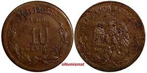Mexico-Revolutionary-GUERRERO-Copper-1915-10-Centavos-KM-646