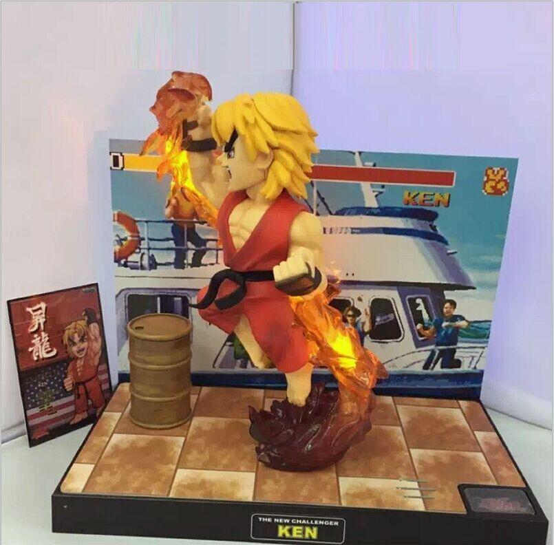 Street fighter ken 8  rising drachen - bild statue spielzeug sf sammlerstück führte & sound