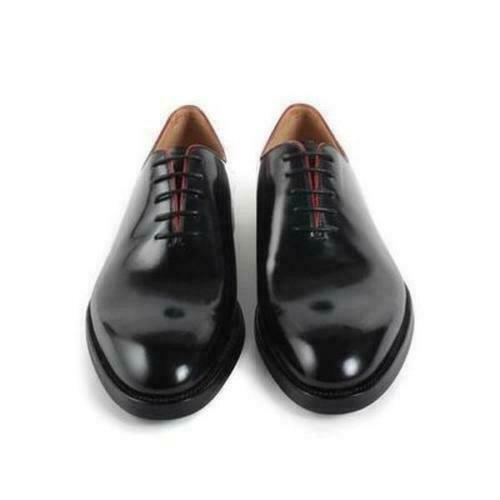 Para hombres Cuero Negro Formal Con Cordones Zapatos clásicos de desgaste de boda de una sola pieza