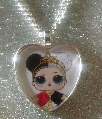 Silver Plated Heart Pendant Necklace LOL Doll Surprise Confetti Pop Dawn
