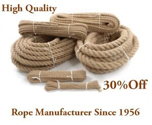 32mm Thick Natural Jute Rope Cord Twine Braided Twisted Decking Boating Garden