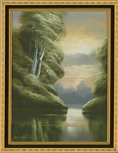 David-A-James-Framed-1974-Acrylic-Tranquil-River-Scene
