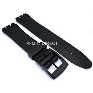 Black-17mm-Fitting-20mm-Width-Resin-Plastic-Watch-Strap-Fits-Swatch-New-Pins