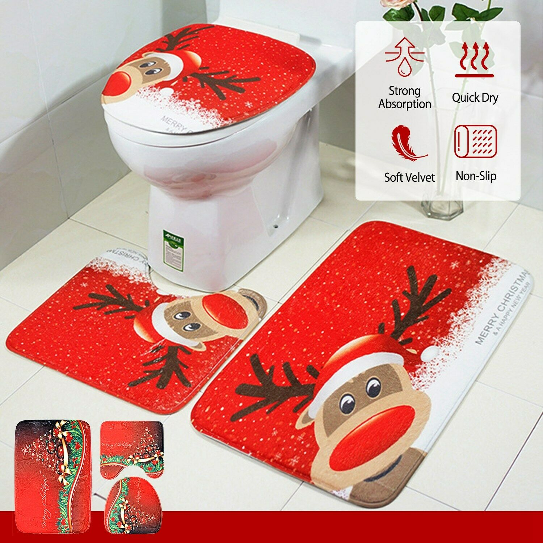 Anti Slip Flannel Bathroom Rug Set Bathmat Toilet Covers Contour Rug 3pcs