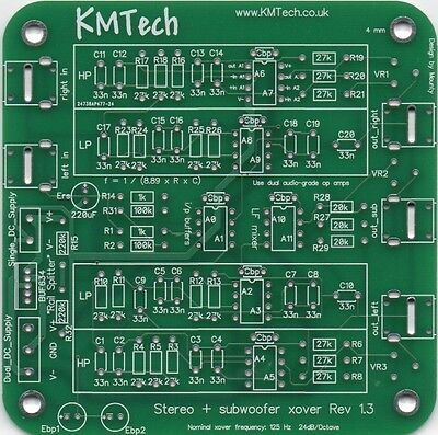 PACK OF FIVE 2.1 24dB/oct stereo active crossover single sub Buttkicker PCB.