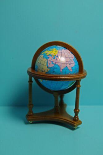 Dollhouse Miniature Modern World Globe in Walnut Wood Floor Stand T6635-3