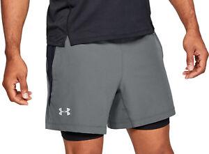 e06bdf36 Details about Under Armour Qualifier Speedpocket 2 In 1 Mens Running Shorts  - Grey