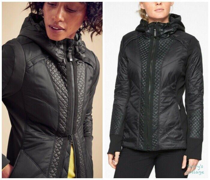 ATHLETA Rock Ridge Primaloft Jacket XS Black   Fitness Hiking Coat w/ Hood NEW