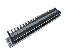 20 Position Screw Barrier Strip Terminal Block w/ Cover & Mounting Rail 15A