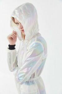 NWT-Avec-Les-Filles-Iridescent-Hooded-Anorak-Coat-in-Opal-Size-Small