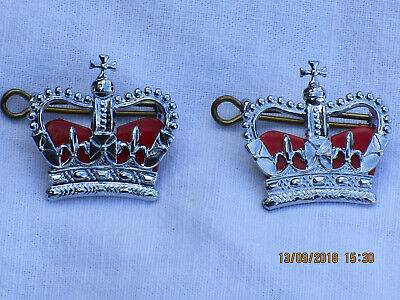 United ,rank Crowns,officer,1 Pair,size 1 3/16x1 3/32in,silver Colour,with Eyelets Militaria Collectibles