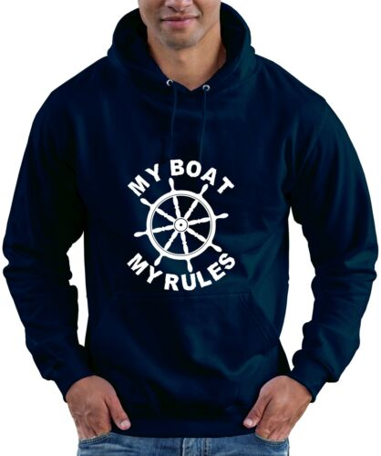 MY RULES Funny Captain Skipper Boating Yacht Hoodie Hooded Top MY BOAT