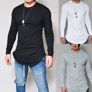 d62e160a8 Mens Slim Fit Crew Neck Long Sleeve Cotton Tee Shirt Casual Tops ...