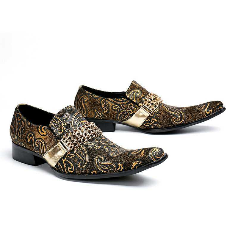 Men Pointy Toe Floral embroidery Leather Loafers Dress Work Leather shoes