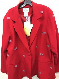 Rosso Factory Womens Quacker July Nuovo 2x ~ Of 4th The con Giacca Tema bandiere RxUTHwC