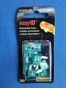 Pack of 10 Bussmann VP//ATM-30ID easyID Illuminating Blade Fuse,