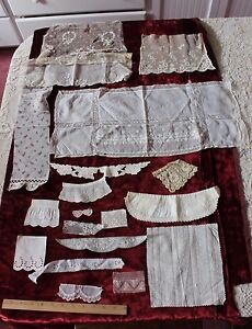 French-Antique-amp-Vintage-Embroidery-amp-Lace-Doll-Bundling-Fabric-18-Pieces