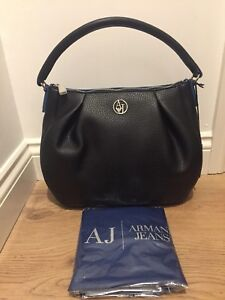 7c785c7cbe6c Image is loading ARMANI-JEANS-Black-Eco-Leather-Hobo-Bag-180