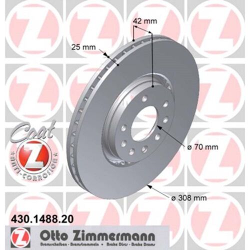 2 zimmermann Disques de frein OPEL ASTRA CORSA MERIVA zafira saab 9-3 9-5 308mm