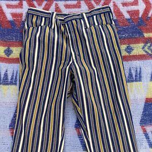 1960s Prensa Permanente A Rayas Hippie Jeans Pantalones Campanas 30x29 Azul Amarillo Ebay