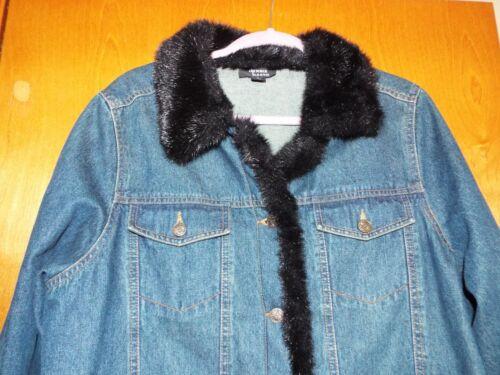 Ex État garnie fausse Dennis fourrure Basso large en noire en jean Veste Taille xOq7P7