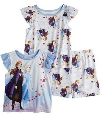 New Girls XXS 2//3 Disney/'s Frozen Pajamas Set PJs 2-Piece Pant Top ELSA /& ANNA