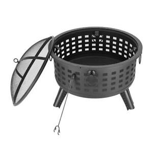 26 Inch Large Outdoor Fire Pit Wood Burning Backyard Steel ... on Zeny 24 Inch Outdoor Hex Shaped Patio Fire Pit Home Garden Backyard Firepit Bowl Fireplace id=19090