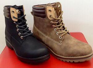 huge selection of 41c70 91363 Details zu Damen Herbst/Winter Schuhe Stiefeletten Boots Schnürstiefel  36-41 Schwarz /Khaki
