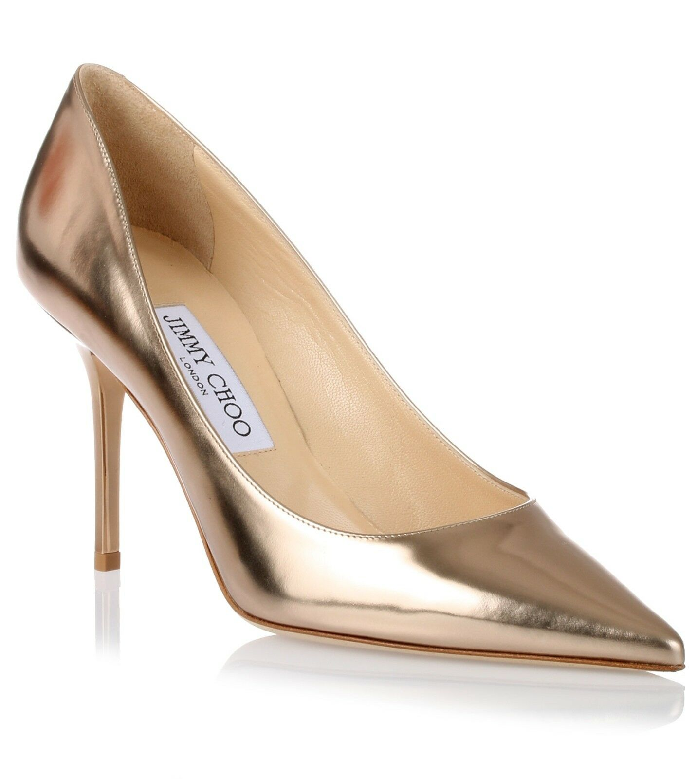 595+NEW Jimmy Choo Agnes Nude Mirror Leather 85MM Pump Sz 40 US 9.5