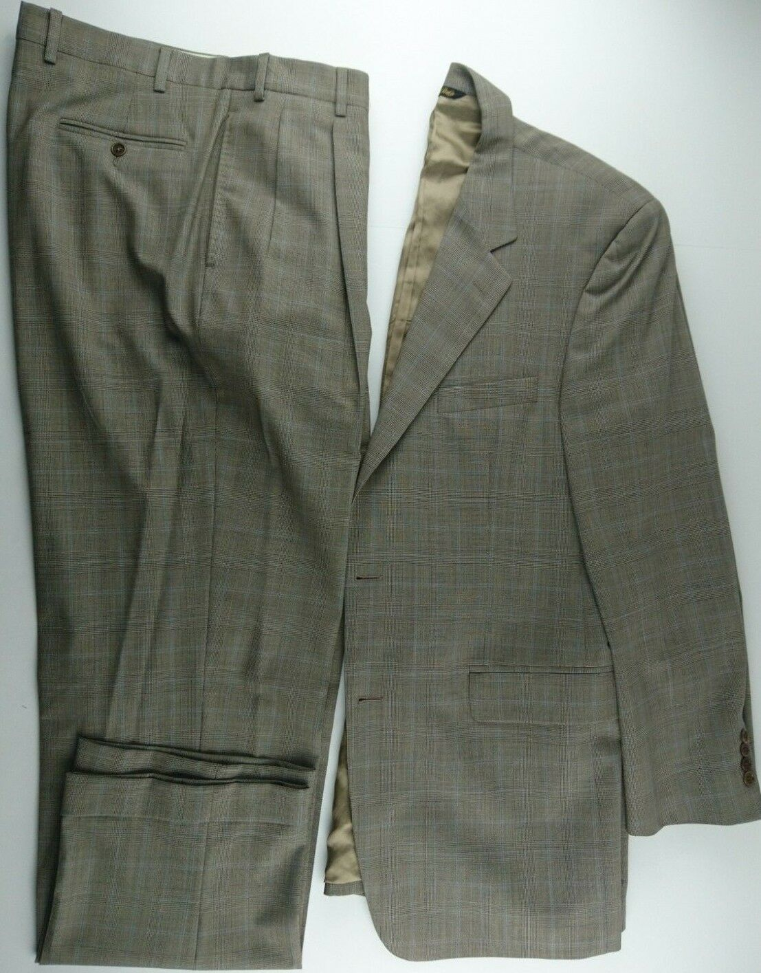 Nathan David 42 L 2-Piece Suit (36 X 32.60) Pleated Cuffed 2 Button Glen Plaid