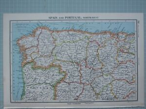 Mappa Spagna Nord Ovest.1943 Mappa Spagna E Portogallo Nord Ovest Orense Coruna Lugo Soria Ebay