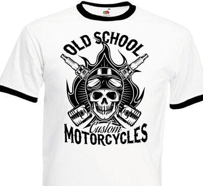 T-Shirt Hommes Moto Moto Motard Bicolore Motif Crâne