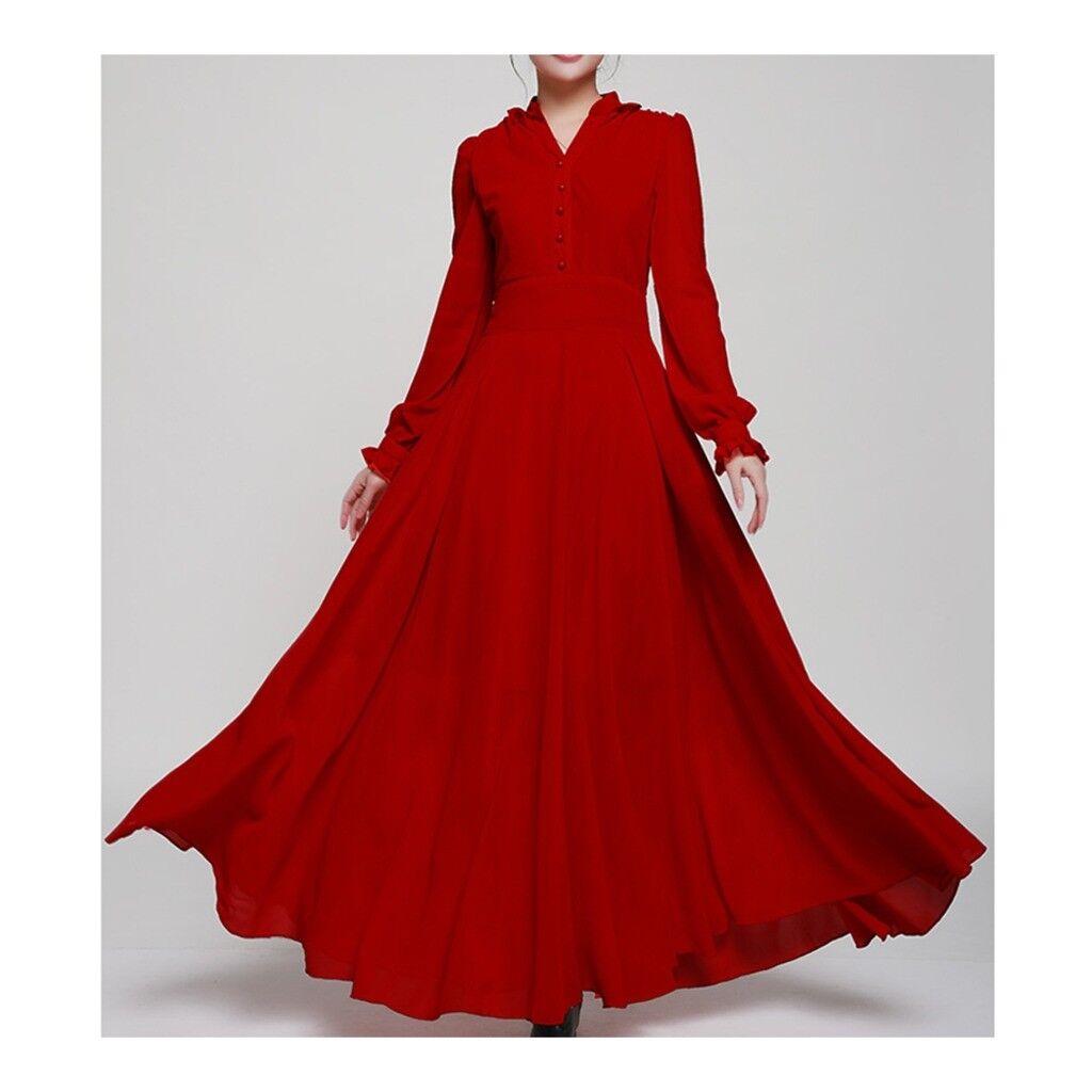Vintage Preppy Style Langes Kleid Groß Schößchen S