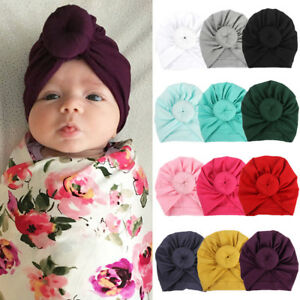 85f3ed5d8 New Boys Girls Baby Soft Cotton Hat Turban Knotted Cap Beanie Bow ...
