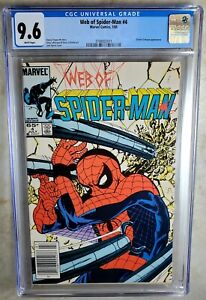 Web of Spider-Man #4 NEWSSTAND Marvel 1985 CGC 9.6 NM+ White Pages Comic Q0110