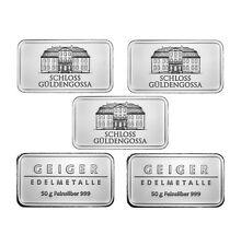 50 Gram Geiger Security Line Silver Bar (New, Lot of 5)