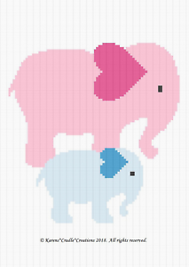 Crochet Patterns BABY GIRL ELEPHANT Graph//Chart Afghan PATTERN